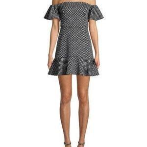 Saloni Amelia Off Shoulder Polka Dot Dress